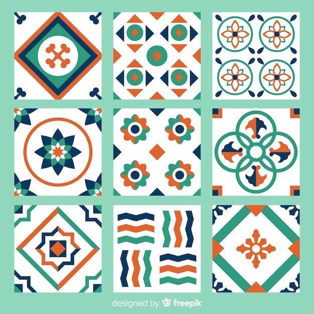 カラフルな抽象的なタイルのコレクション 無料ベクター