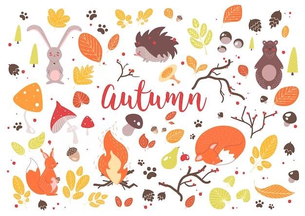 色鮮やかな紅葉、枝、コーン、ドングリ、ナッツ、フルーツ、ベリー、キノコ、たき火を燃焼、白い背景で隔離のかわいい漫画の森の動物のコレクション。図。 Premiumベクター