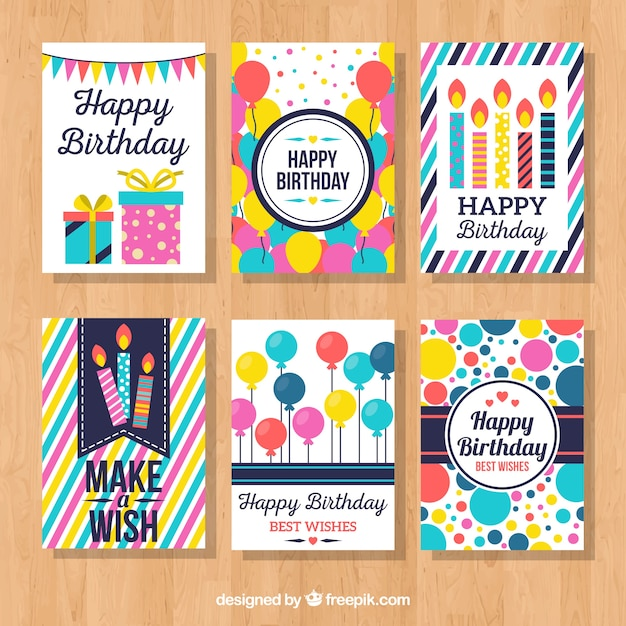 Collection of colorful birthday card Vector – Birthday Card Collection