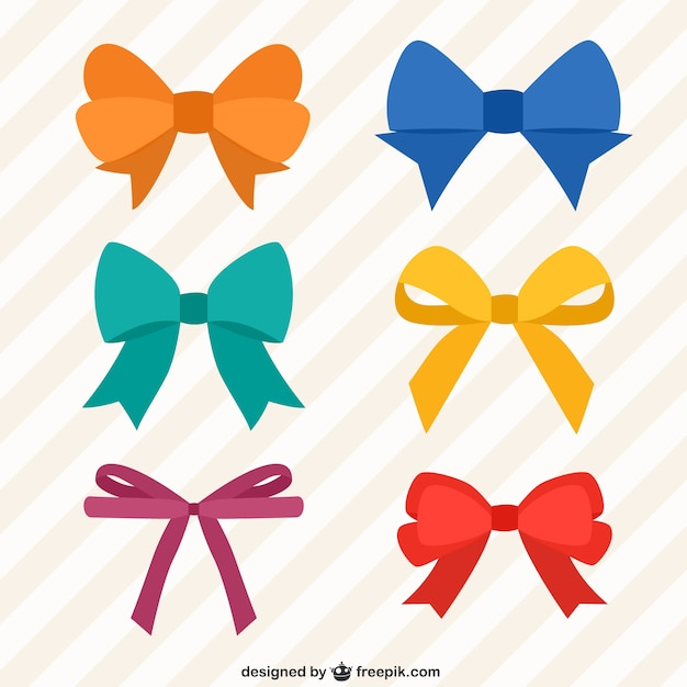 Collection of colorful bows Premium Vector