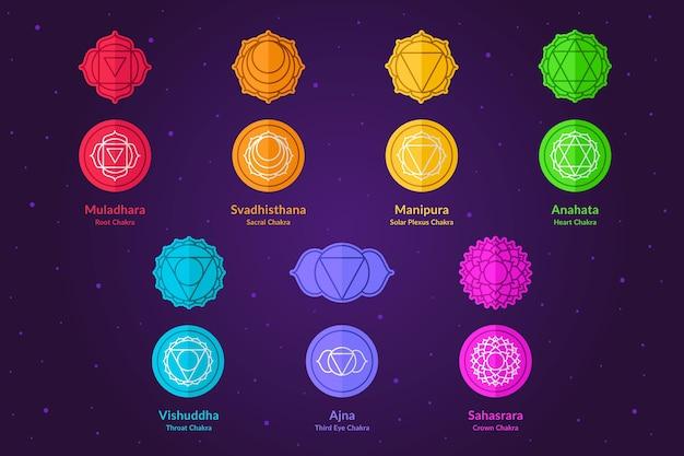 Коллекция красочных чакр Бесплатные векторы