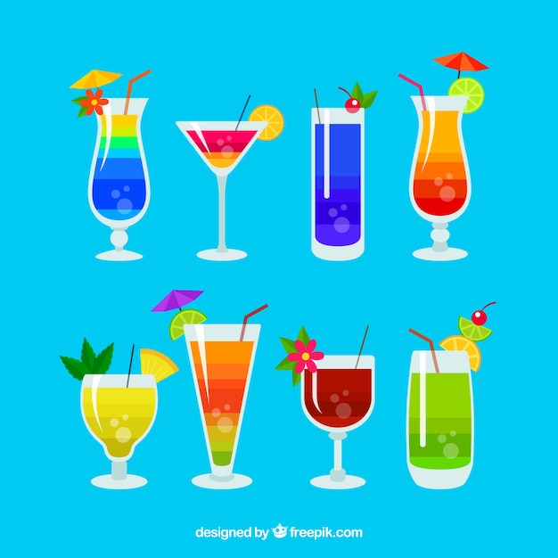 Collection of colorful cocktails Free Vector