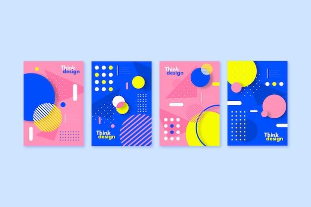 Коллекция красочных обложек с абстрактными формами в стиле мемфис Бесплатные векторы