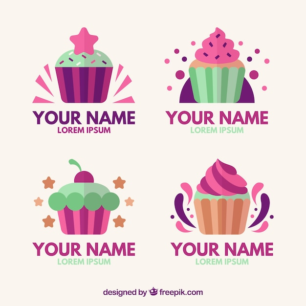 Collection of colorful cupcake logos Free Vector
