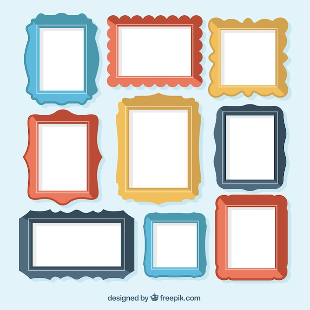 Collection of colorful flat frames Vector | Free Download