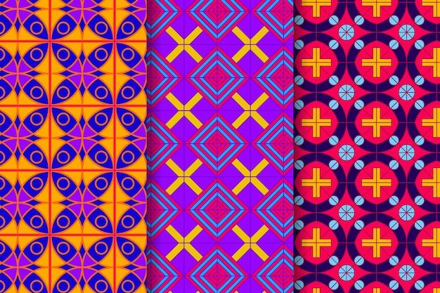 다채로운 기하학적 그린 패턴의 컬렉션 무료 벡터