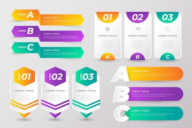 다채로운 infographic 요소 컬렉션 무료 벡터