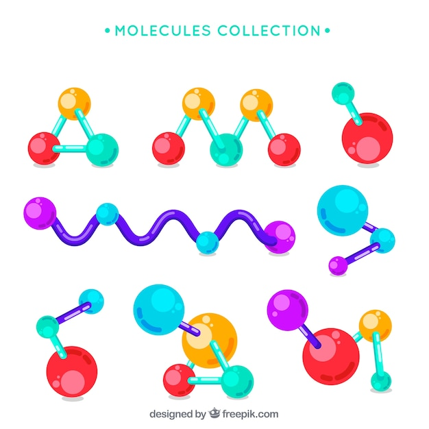Collection of colorful molecule