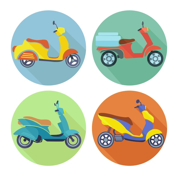 Collection of colorful motorbikes