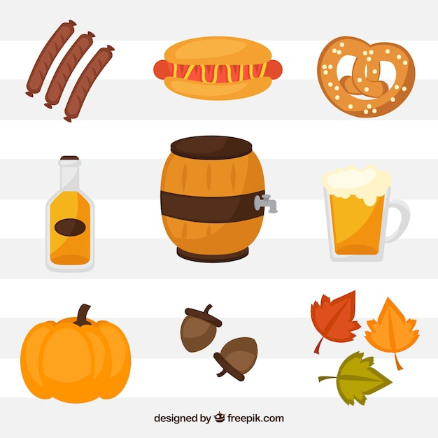 Collection of colorful oktoberfest elements