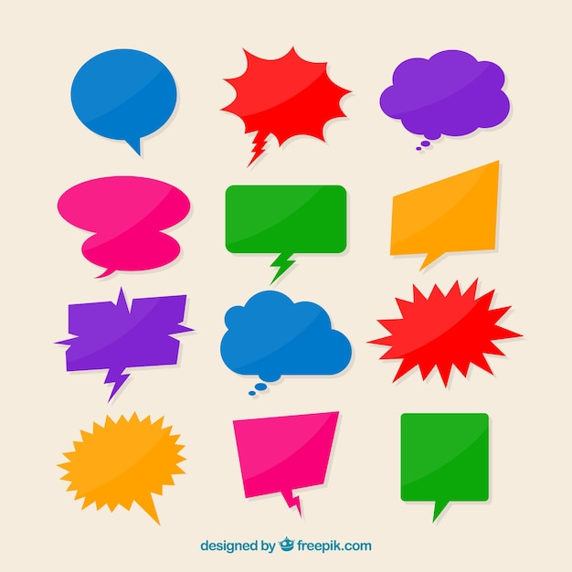Collection of colorful speech bubble