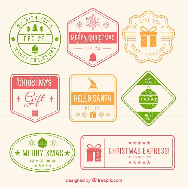 Collection of colourful christmas stamps