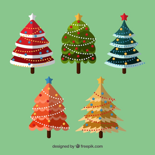 Collection of colourful decorated christmas trees