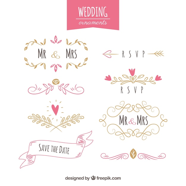 Collection of colourful hand drawn wedding ornaments Free Vector