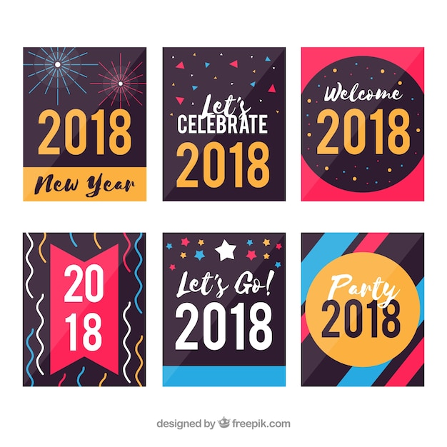 Collection of colourful new year postcards