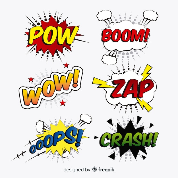 Collection of comic speech bubbles Free Vector