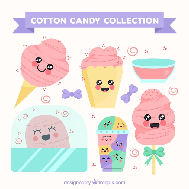 Collection of cotton candy with smiley faces Free Vector