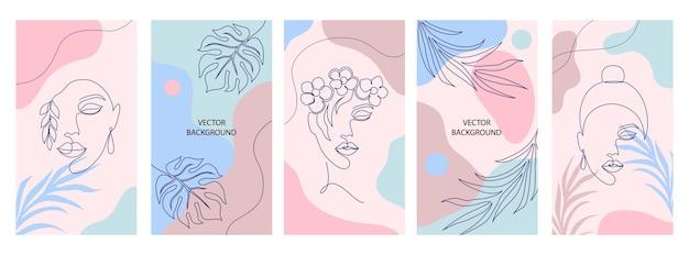 소셜 미디어 스토리의 표지 모음입니다. 아름다움과 패션 개념. 프리미엄 벡터
