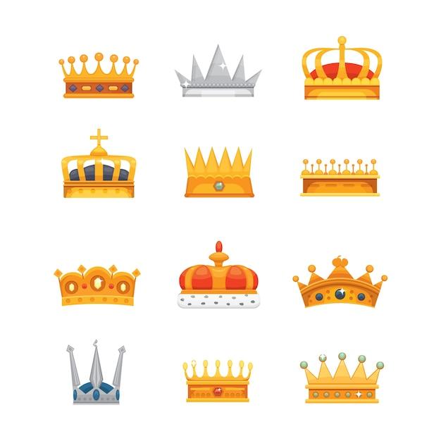 勝者、チャンピオン、リーダーシップのための王冠アイコン賞のコレクション。ロイヤルキング、クイーン、プリンセスクラウン。 Premiumベクター