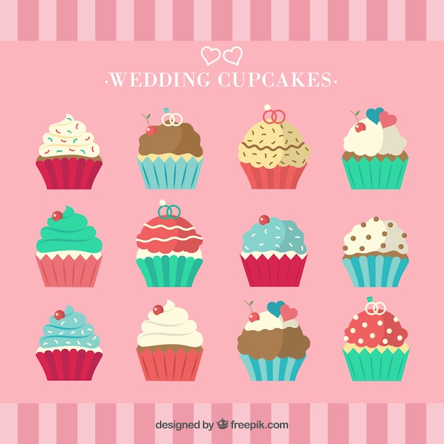 Collection of cupcakes Free Vector