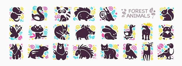 Коллекция милых иконок животных, изолированных на белом фоне. Premium векторы
