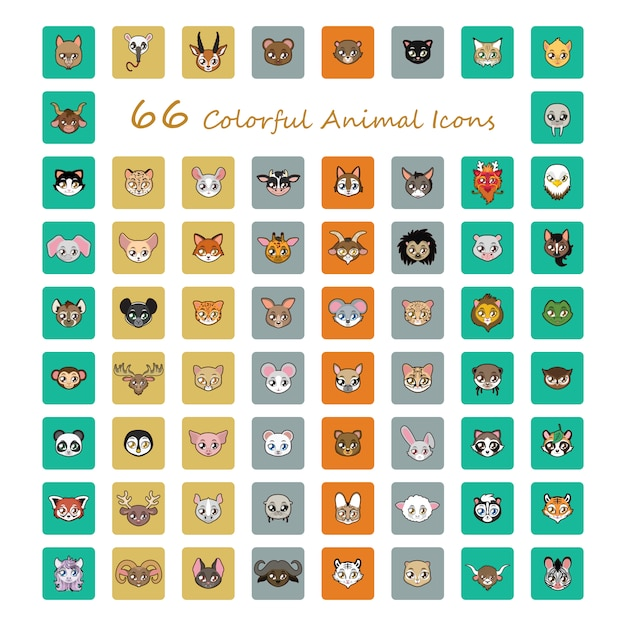 Collection of cute animal stickers