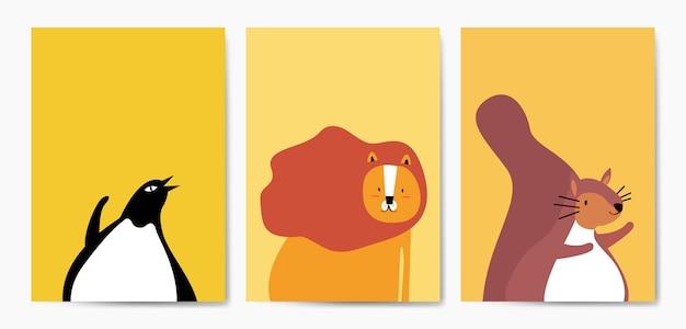 Коллекция милых животных в мультяшном стиле вектор Бесплатные векторы