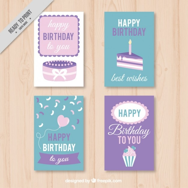 Collection Of Cute Birthday Card In Pastel Tones Vector Free Download