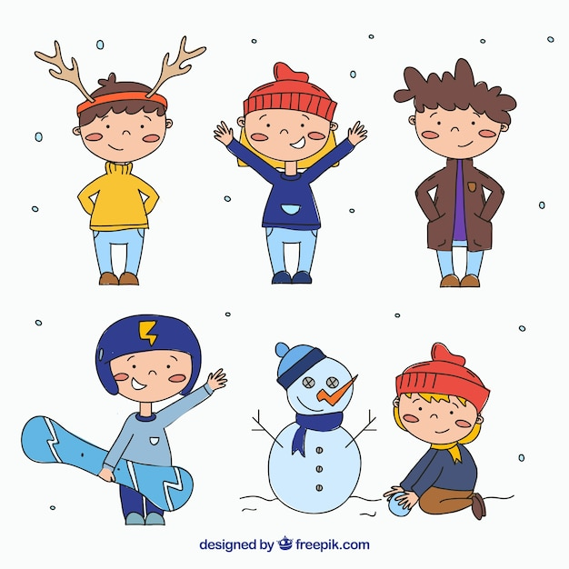 Collection of cute children in warm clothes