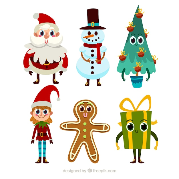 Collection of cute christmas characters in cartoon style