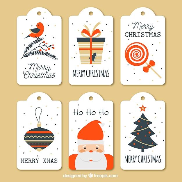 Коллекция милых рождественских тегов Premium векторы