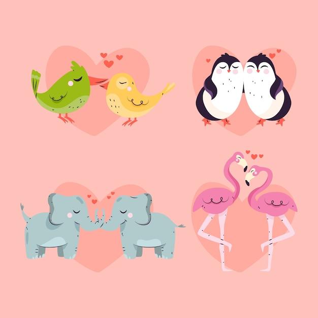 Коллекция милой пары животных Бесплатные векторы