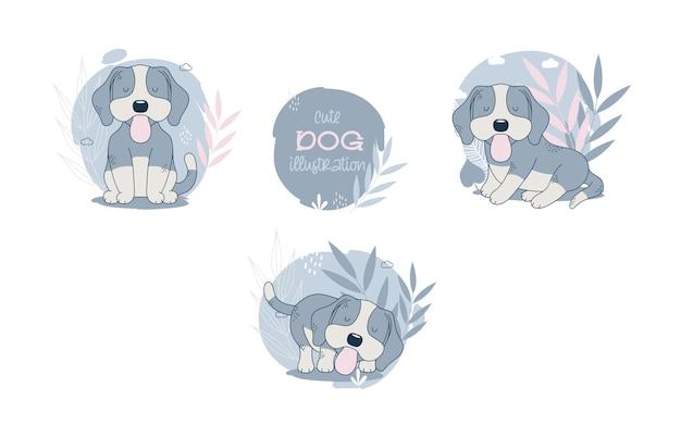 귀여운 강아지 만화 동물의 컬렉션입니다. 벡터 일러스트 레이 션. 무료 벡터