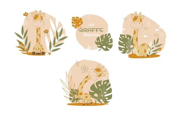 Коллекция милых мультяшных животных жирафов. векторная иллюстрация. Бесплатные векторы