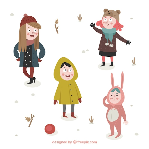 Collection of cute kids in winter clothes
