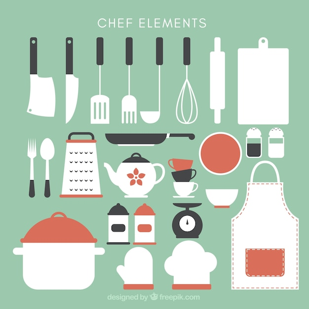 Collection Of Cute Kitchen Utensils Free Vector