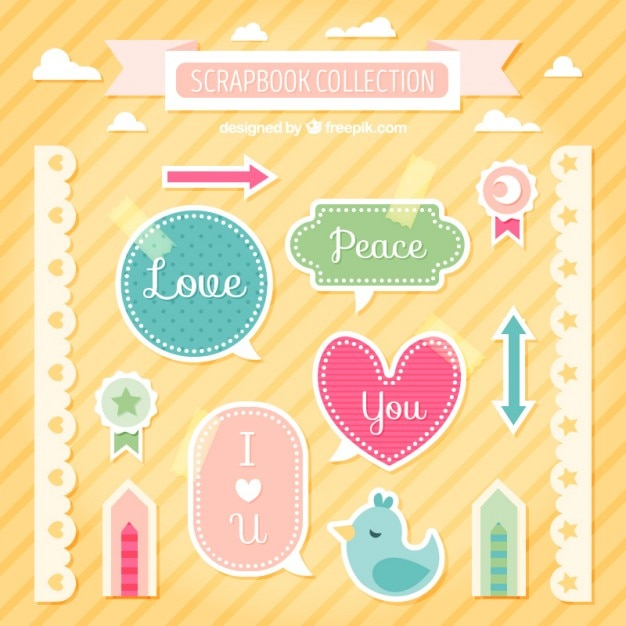 collection of cute labels and borders for scrapbooking vector free