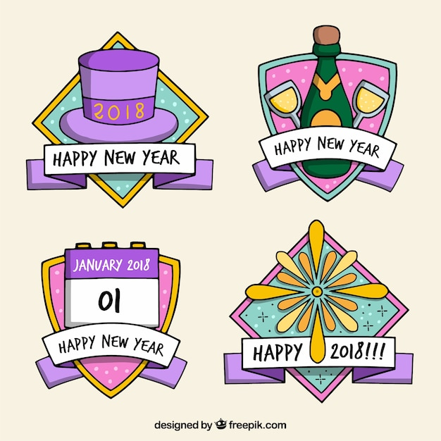 Collection of cute new year badges