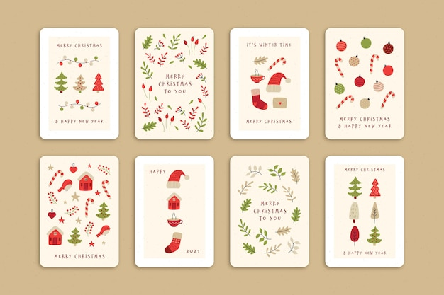 귀여운 유기 크리스마스 카드 컬렉션 무료 벡터