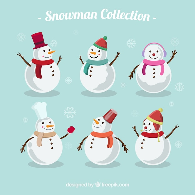 collection of cute snowman vector free download