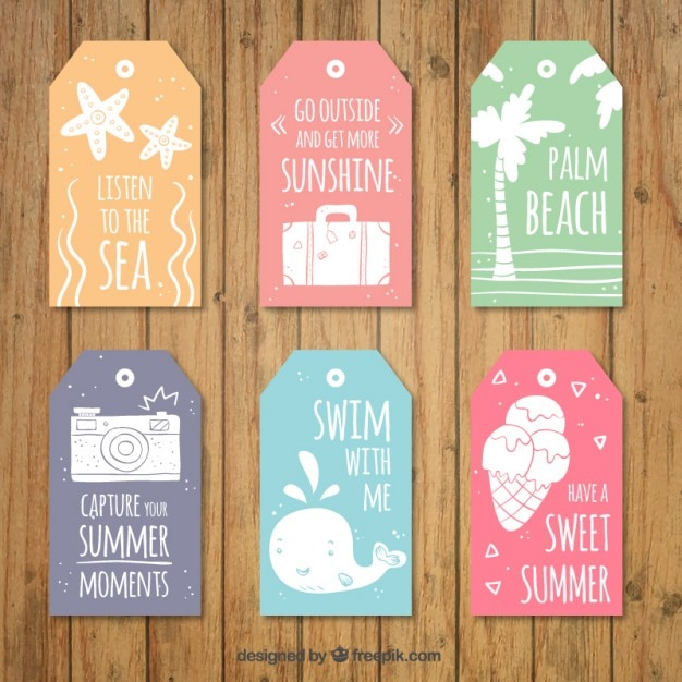 Collection of cute summer tag with lovely messages