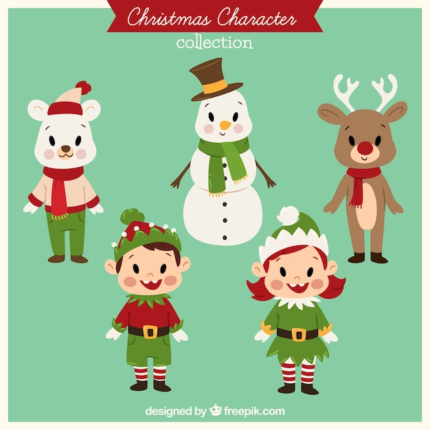 Collection of cute vintage christmas characters