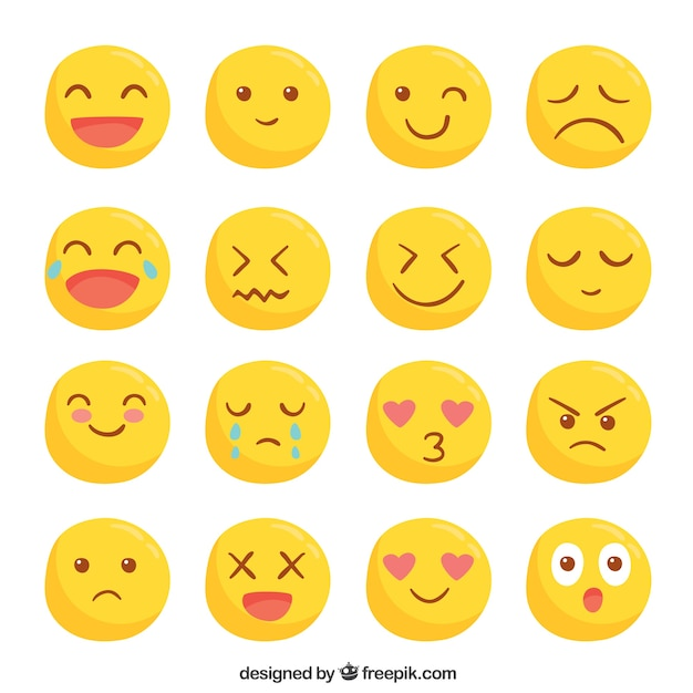 Collection of cute yellow smileys Free Vector