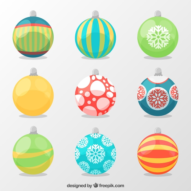 Collection of decorative balls in flat design