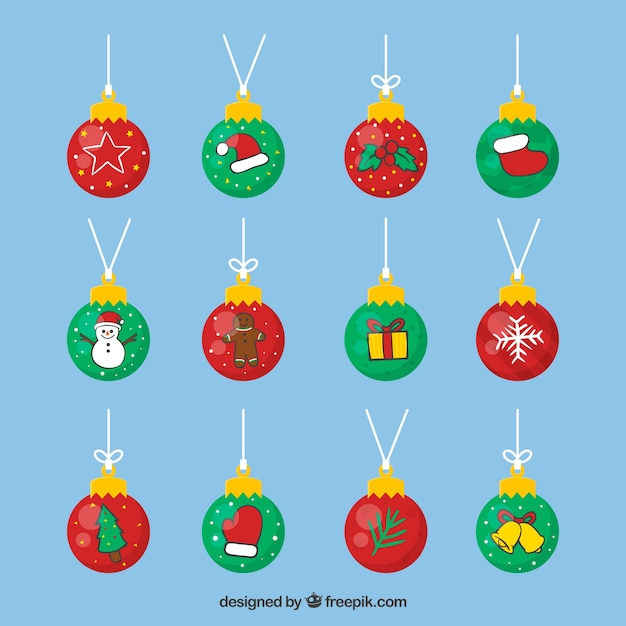 Collection of decorative christmas balls in flat design