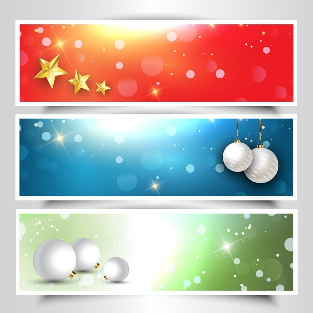 Collection of decorative christmas headers Free Vector