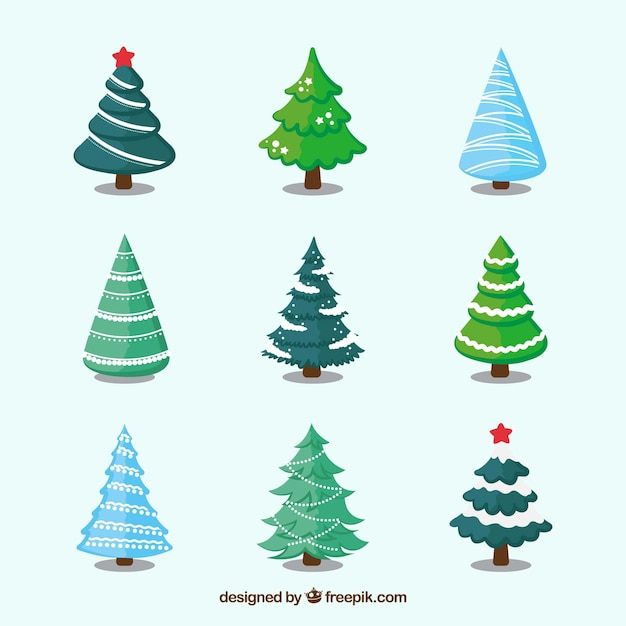 Collection of decorative christmas trees