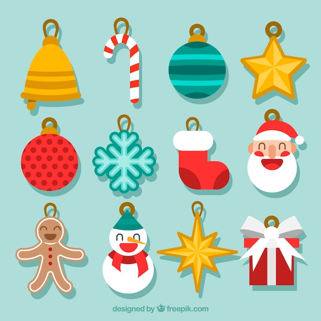 Collection of decorative element for christmas tree