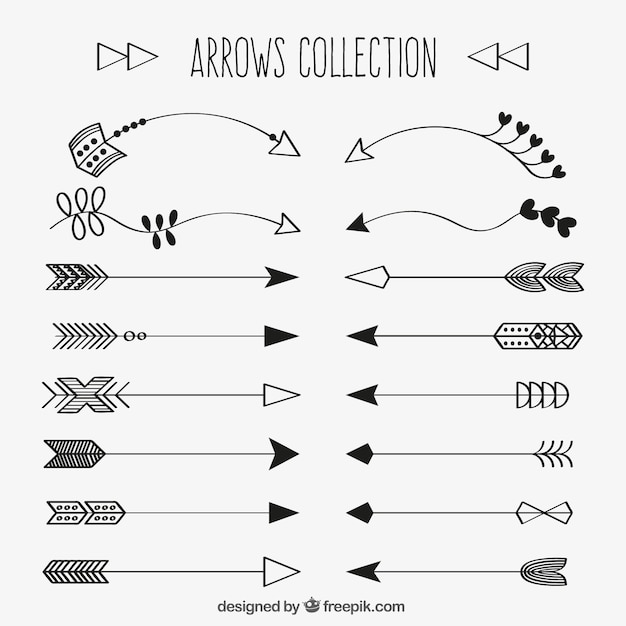 collection of decorative hand drawn arrow vector free download