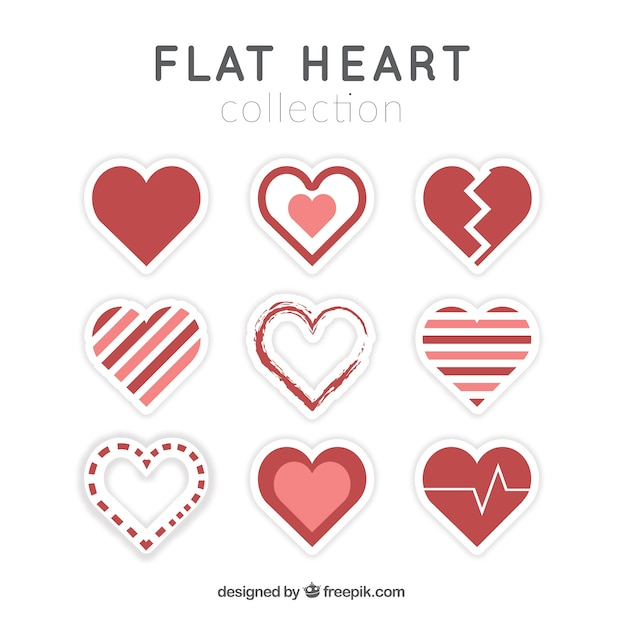 Collection Of Decorative Hearts In Flat Design Vector Free Download